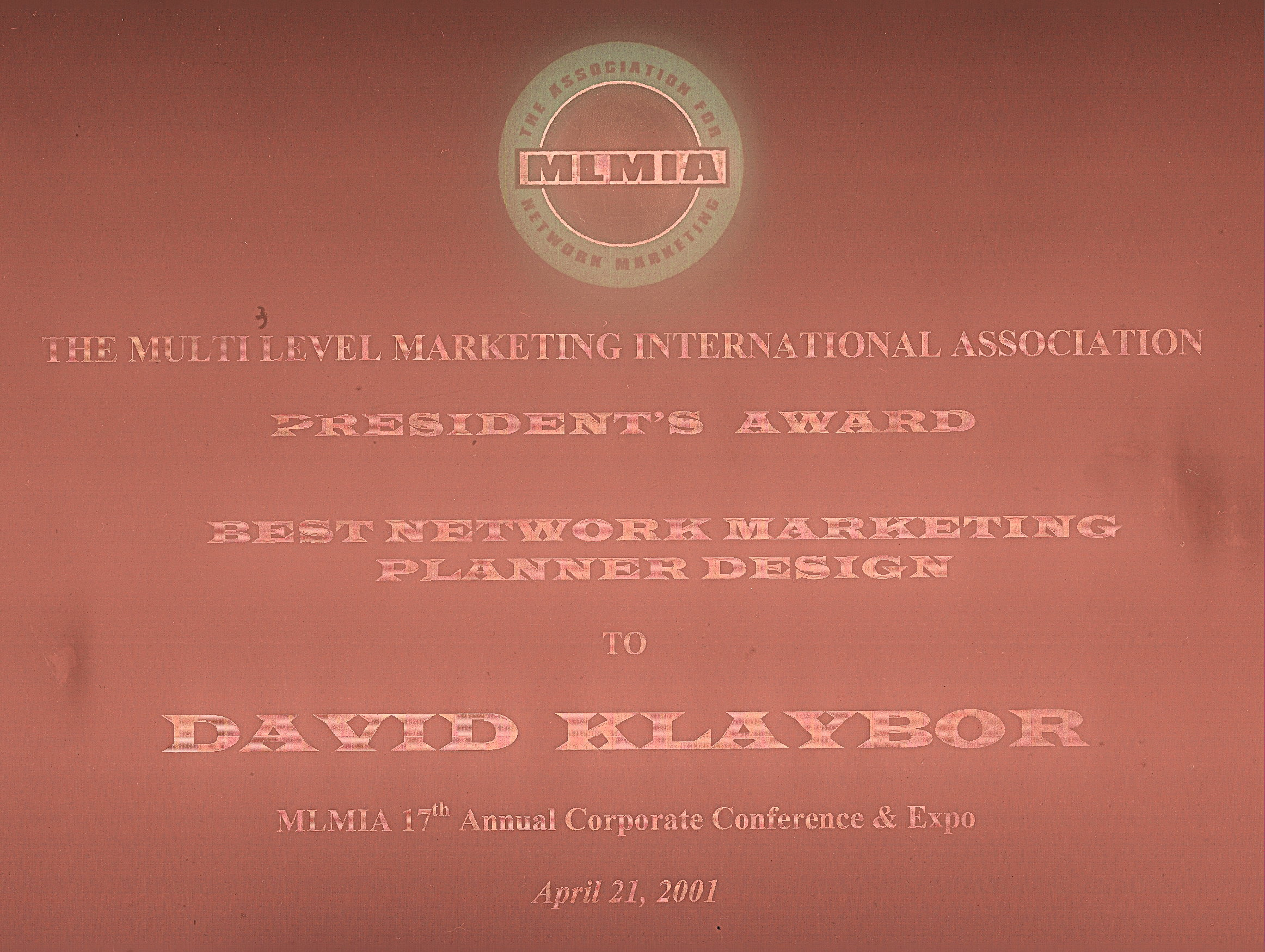 MLMIA AWARD for the Best MLM Business Planner Ever Created !